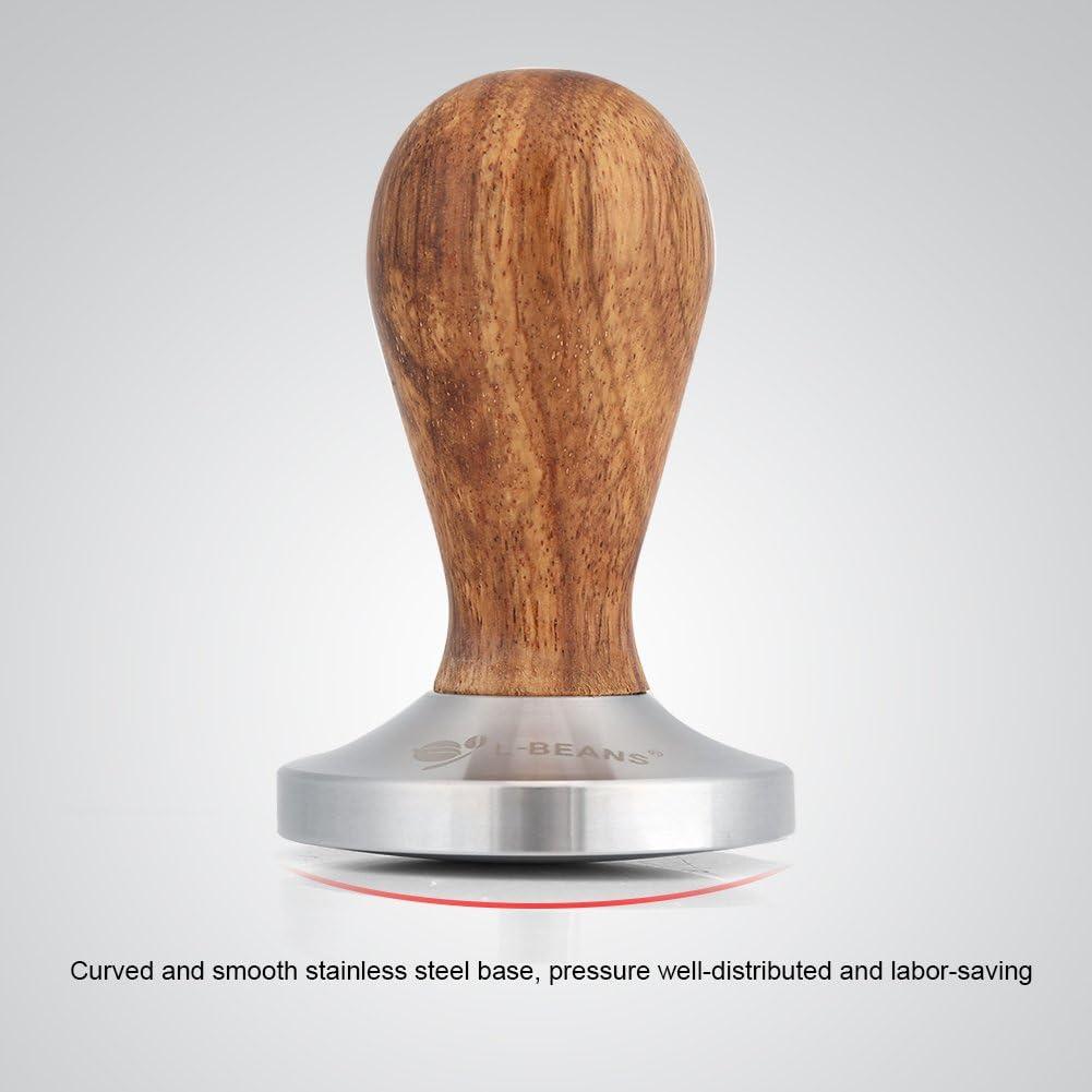 Mango de Madera Base de Acero Inoxidable de 58 mm Espresso en Polvo Herramienta de Martillo de Prensa Plana para cafetera Pbzydu Tamper de caf/é