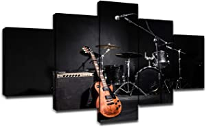 Modern Musical Instruments During Concert Canvas Prints Wall Art Large Black and White Poster with Frame Bedroom Decor Rock Picture Guitar Painting Artwork Decoration Ready to Hang(60''Wx32''H)