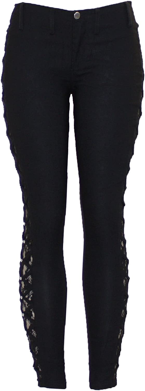 Barfly Fashion New Ladies Black Cut Out Lace Insert Studded Skinny Legging Jegging Trouser Jean Pant UK Size 8-18