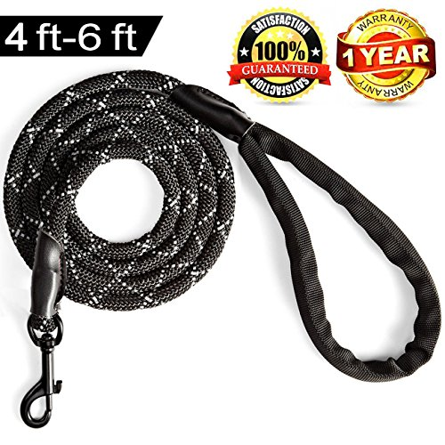 Heavy Duty Rope Leash (Furrytail Club Climbing Rope Dog Leash for Big Dogs - The Strongest Nylon Dog Leash - Heavy Duty Dog Leash Chew Proof Nylon Rope - Shock Absorption For The Largest Pulling Dogs(6 foot, Black))