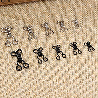 Janegio 120 Set Sewing Hooks and Eyes Closure with 5 Sizes for Bra and Clothing,Silver and Black