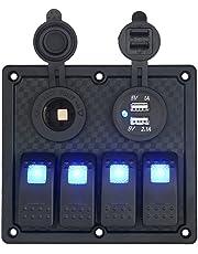 T Tocas Impermeable Montaje Empotrado 4Gang Interruptor Panel & 12V Cigarrillo Toma de Corriente y Doble USB Puertos Intergrate para 12V/24V Auto de RV Barco yate, indicador LED Azul