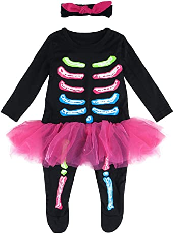 Baby Girls Toddler Cute Skeleton Ghost Halloween Costume Jumpsuit with Headpiece