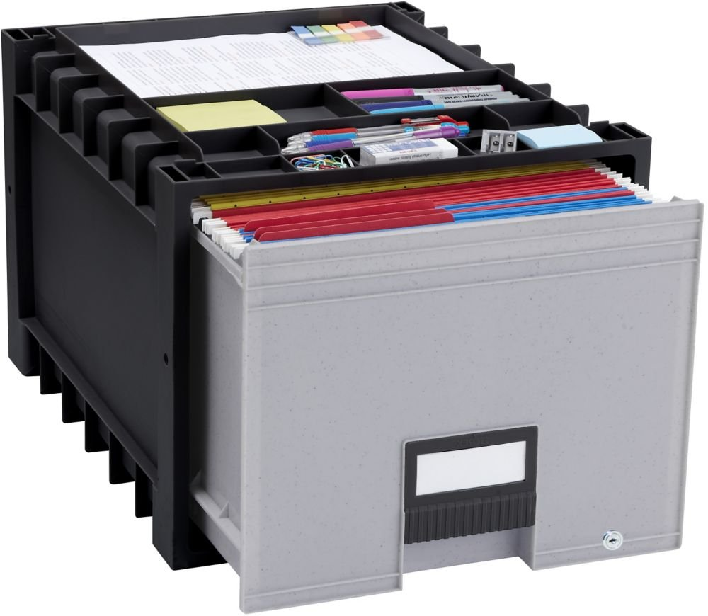 One Set, Black/Gray Locking Letter-Sized Archive Storage Box - Dimensions: 14.3''W x 18''D x 12.3''H Weight: 6 Lbs Stackable & Water-Resistant
