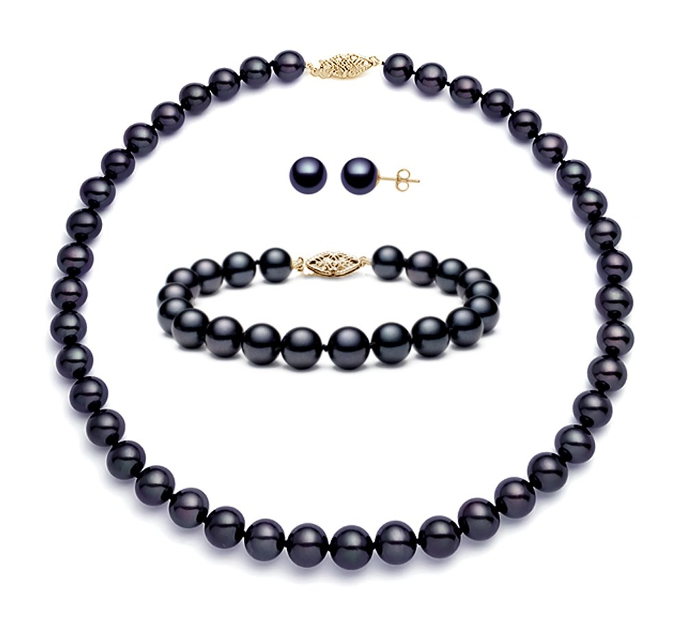 14k Sterling Silver Black Freshwater Cultured Pearl Set AA+ Quality (7.5-8mm) by Premium Pearl, Inc (Image #1)