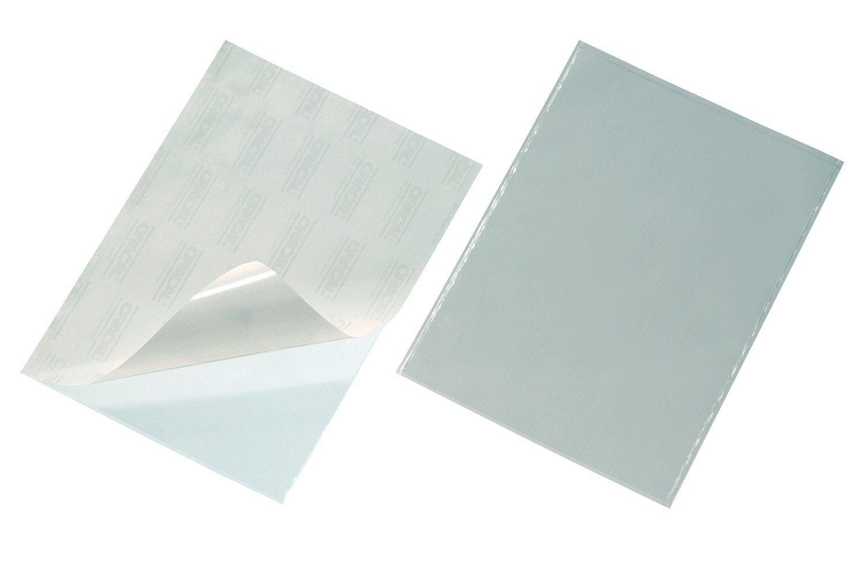 DURABLE 829619 - Pocketfix A4, tasca adesiva con inserto in cartoncino per cartelle, raccoglitori, f.to A4, trasparente, confezione da 50 pezzi