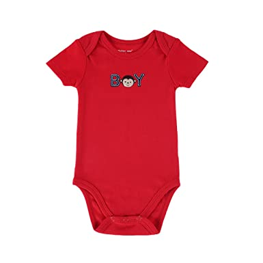 3261d042cd JIAJIA Newborn Baby Boy Short Sleeve Cute Red Summer Bodysuit Onesies 9-12  Months