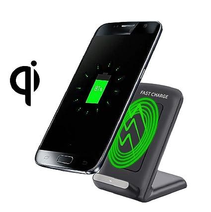 Para Samsung Galaxy S8/S8 Plus - Sannysis 3-Coils Cargador Qi Inalámbrico Wireless Pad de Carga Negro
