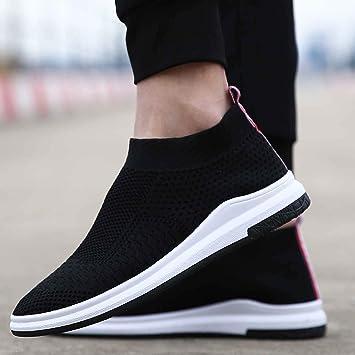 HCBYJ Calcetines zapatos Transpirable súper fuego volando tejido de tacón bajo lienzo zapatos de malla masculina