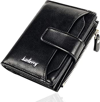 Mens RFID Blocking Genuine Black Leather Wallet Credit Card Holder Coin Pouch