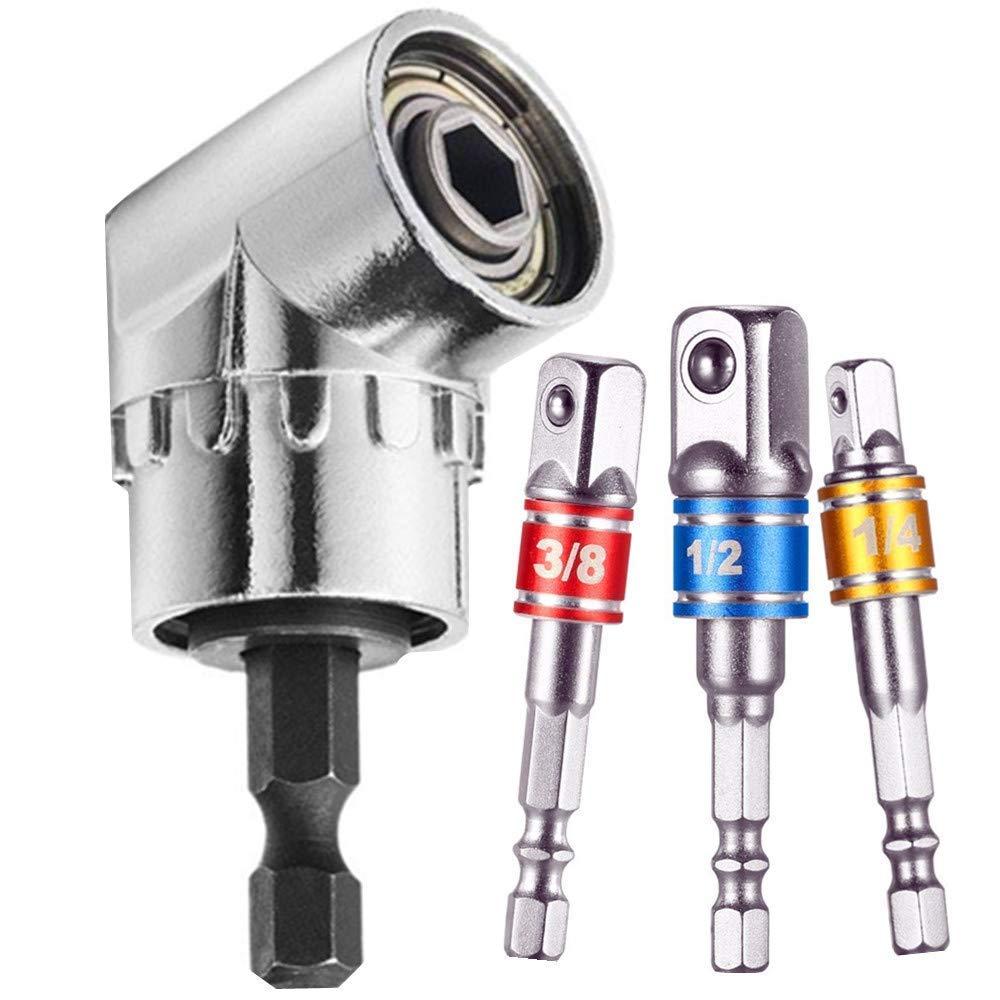 3Pcs 1/4 3/8 1/2' Universal Socket Adapter Set, Right Angle Drill+Impact Grade Driver Sockets Adapter Extension Set Drill Bit, 105 Degree Right Angle Screwdriver Set Drill Hex Bit Socket Adapter guyiste
