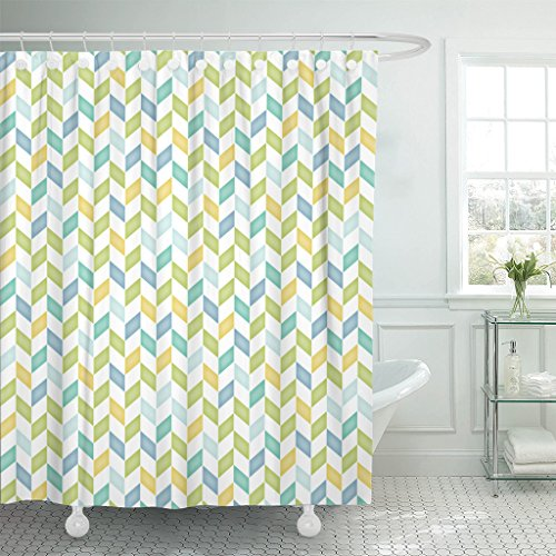 Emvency Shower Curtain Zag Blue Green Yellow Teal Chevron Zig Baby Boy Waterproof Polyester Fabric 72 x 72 Inches Set with Hooks (Gold Baby Rectangle Ring Yellow)
