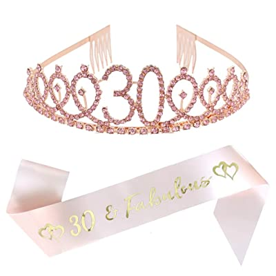 30th Birthday Party Supplies 30th Birthday Tiara and Sash Kit Rose Gold Rhinestone Princess Crown and 30 Fabulous Glitter Satin Sash for Happy Birthday Party Favors, Decorations: Toys & Games