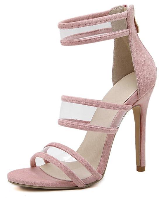 SHOWHOW Damen Offene Zehe Transparent Stiletto Sandale mit Knöchelriemchen Rosa 35 EU 6PYxe6KDF