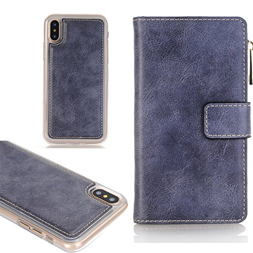 4.7'' iPhone 6 Phone Case, TechCode Premium PU Leather Zipper Phone Pouch [Card Slots] Removable Cover Protective Case for Apple iPhone 6 4.7 inch (iPhone 6, Blue) by TechCode