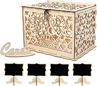VINFUTUR 1pcs Caja para Tarjetas de Boda Caja Dinero de Boda Regalos+4 Pizarra de Boda Artículos para Fiestas de Madera: Amazon.es: Hogar