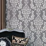 Wall Stencil Damask Verde - Allover Wall Pattern for DIY Wallpaper Stenciling