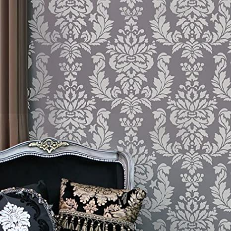Wall Stencil Damask Verde - Allover Wall Pattern For Diy Wallpaper