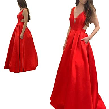 Adonis Pigou Womens Sexy Red Satin Formal Evening Prom Dresses Size 2 US Blak