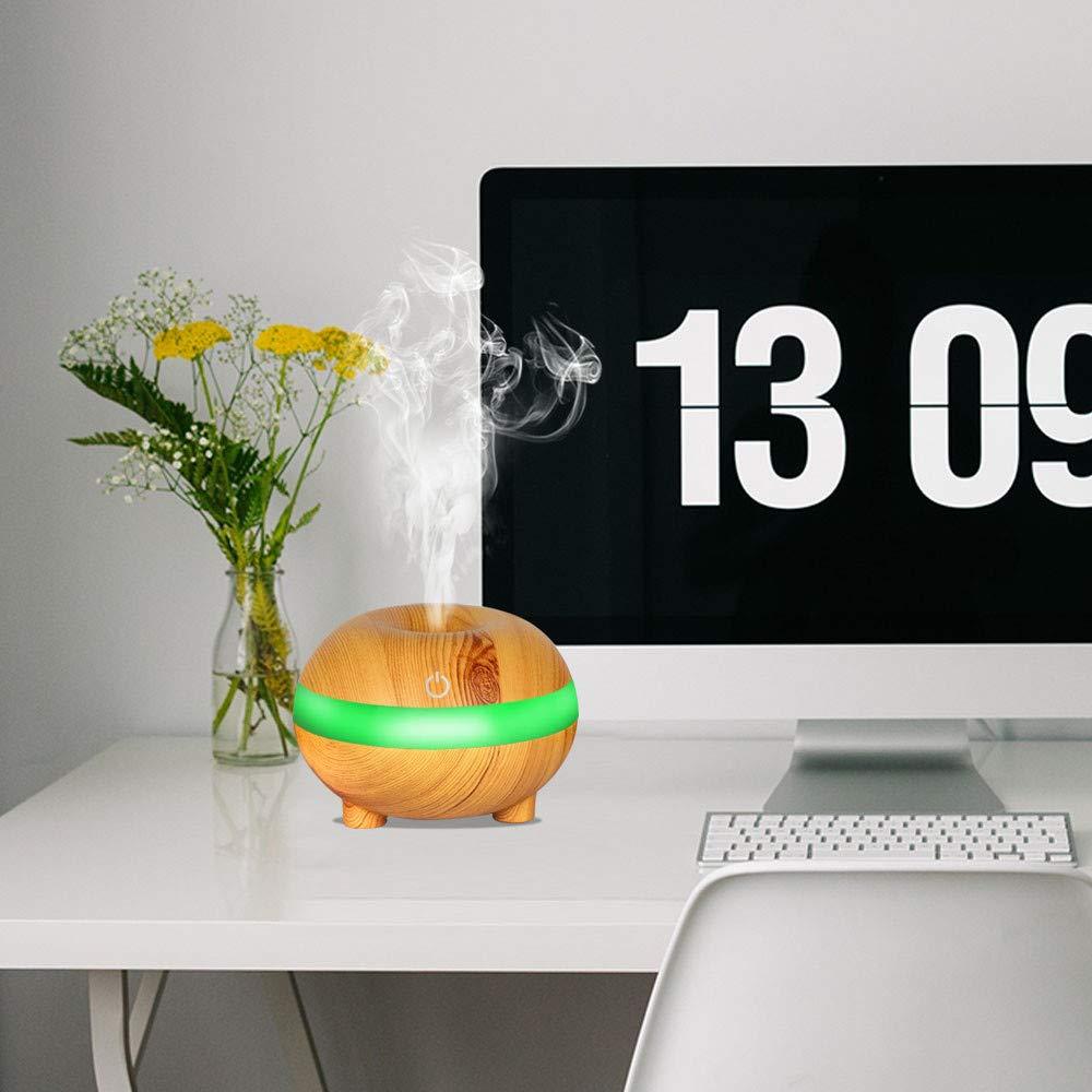 Ba/ño Dormitorio Yoga Oficina Humidificador Aromaterapia Difusor de Aceites Esenciales Difusores de Aroma Purificador de Aire Ultras/ónico con Luz de Noche de 7 Colores para Casa