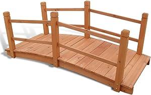 vidaXL Solid Wood Garden Bridge 5' Outdoor Decor Backyard Stream Pond Walkway