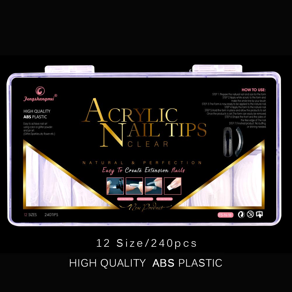 Amazon.com: 240PCS Dual Forms Nail Mold for Polygel UV Gel Nail 12 Size With Scale Best Gift: Beauty