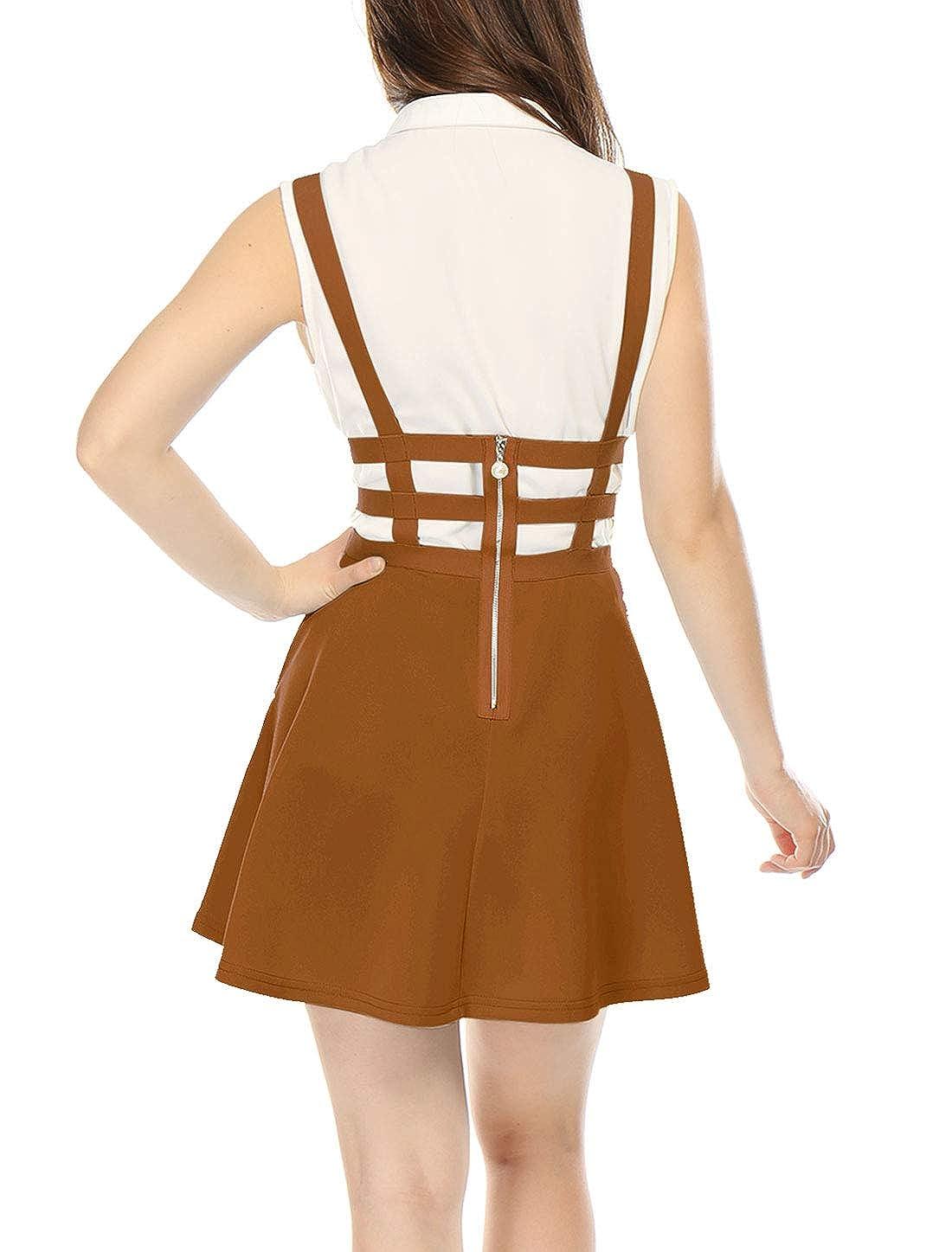Beakgo Femme Jupe de jarretelle /à Taille /élastique avec Bretelles Courte Pliss/ée Jupe Mode Mini Casual Jupe Patineuse avec Sling Robe