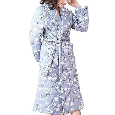 Pijamas Otoño Invierno Bata Flores Cálidas para Mujer Bata De Baño Ropa De Salón: Amazon.es: Ropa y accesorios
