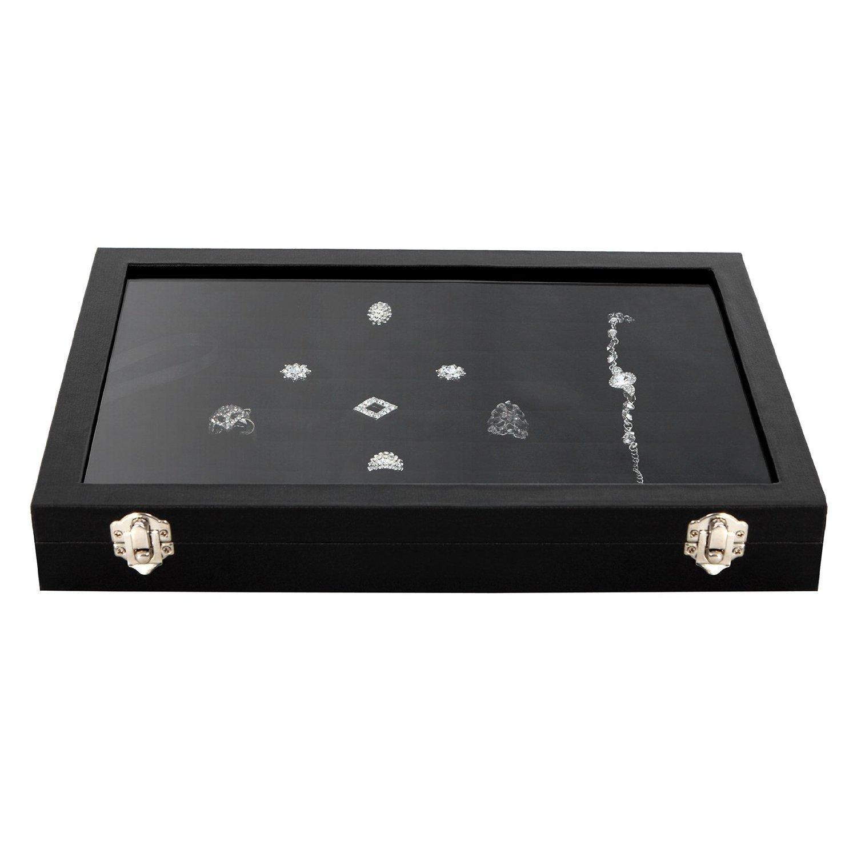 Amzdeal 100 Slot Earring Ring Jewelry Display Storage Box Tray
