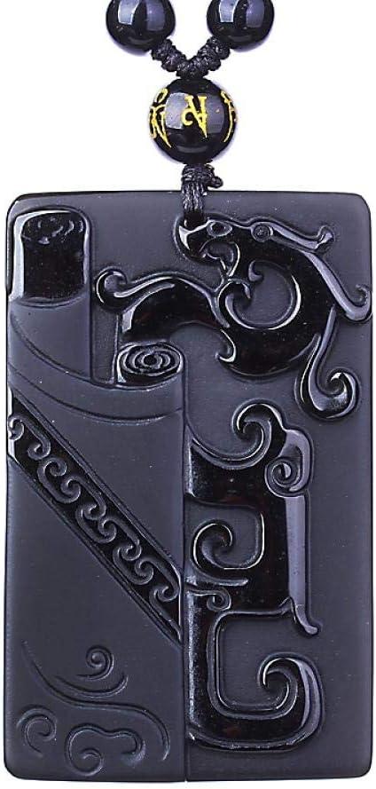 VFJLR Colgante Colgante de obsidiana Negra Colgante de obsidiana Dragón Antiguo Colgante de Jade Joyas de Jade Joyas paraHombres Joyas para Mujeres