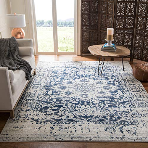 Safavieh Madison Collection MAD603D Cream and Navy Distressed Medallion Square Area Rug (6'7