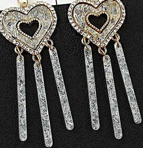Bar Heart Clip On Tassel Dangle Earrings Bohemian Rhinestone Eardrop Khaki