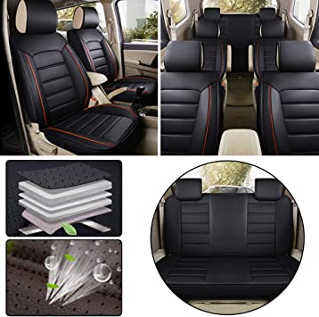 VW Touran Full Set of Luxury BLACK Leather Look Car Seat Covers