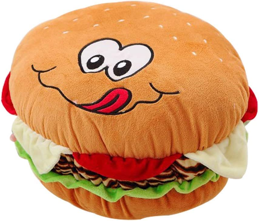 MJTP Lovely Plush Cheeseburger Pillow Fluffy Stuffed Hamburger Pillow Soft Burger Food Plush Toy Hamburger Decorative Throw Pillow to (50cm)