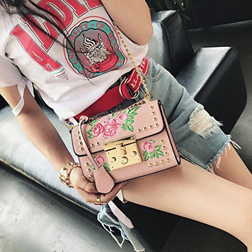 Messenger by Pink Crossbody Rose Bags Bags Black Body Kolylong Women Embroidery Bags Chain Fashion Shoulder dxFPWqX6w