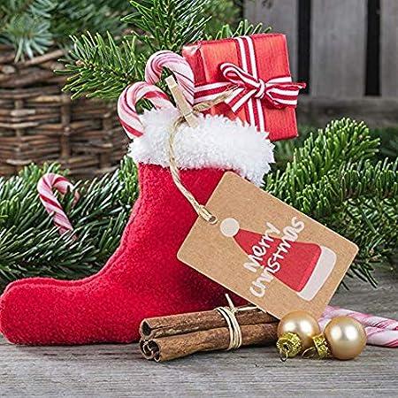 Anh/änger mit 10 m Jute-Schnur Christmas 5 Patterns Dekoration Goodchanceuk 100 St/ück Merry Christmas Kraftpapier Geschenketiketten zum Aufh/ängen SZETOSY Geschenketiketten