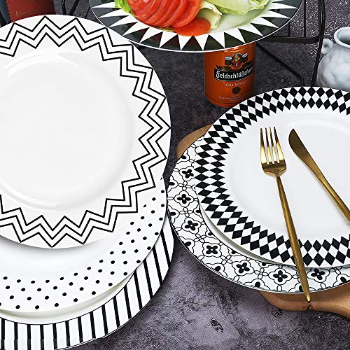 Halloween Dishes For Dinner (AnBnCn Porcelain Dinner Plates -10 Inch,Set of 6,Round Serving Plate Set, 6 Different)