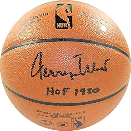 Image of Basketballs NBA Los Angeles Lakers Jerry West Signed NBA I/O Basketball with 'HOF' Inscribed