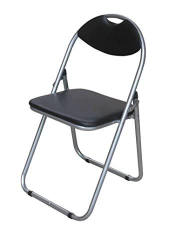 black padded folding office desk chair easily stores away - Office Desk Chairs