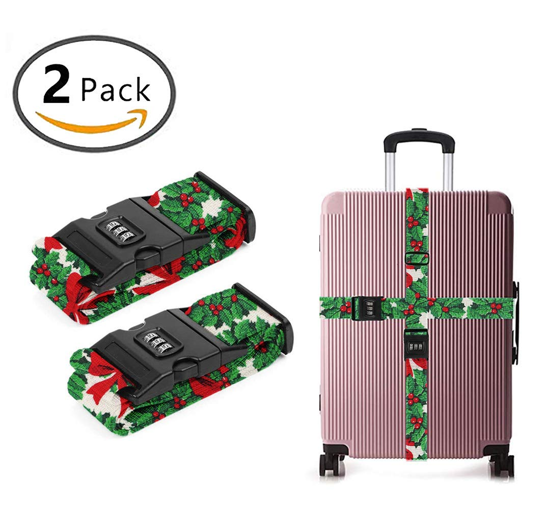 YEAHSPACE Men Women Christmas Guys 3D Long Travel Luggage Strap Heavy Duty Quick Connect Buckle, Suitcase Belts with TSA Approved Lock 2-Pack