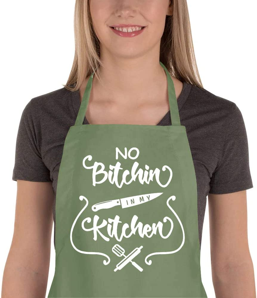 Funny Baking Apron For Woman Cook Gift For Mom No Bitchin/' In The Kitchin/' Apron Mothers Day Gift Bridal Shower Gift Baby Shower Gift