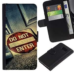 All Phone Most Case / Oferta Especial Cáscara Funda de cuero Monedero Cubierta de proteccion Caso / Wallet Case for Sony Xperia Z3 Compact // Do Not Enter Grunge Sign