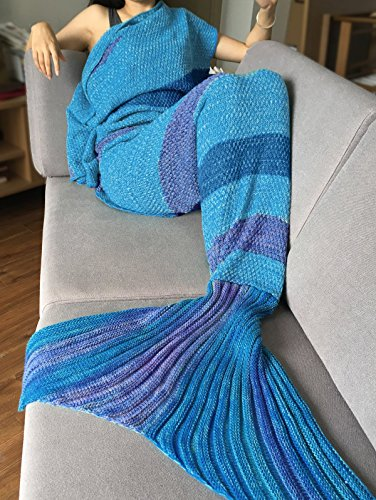 DEW Drops Comfortable Colorful Stripe Pattern Mermaid Tail Blanket Crochet and Mermaid Sofa Blanket for adult,200 X 90 CM (Blue&Purple)