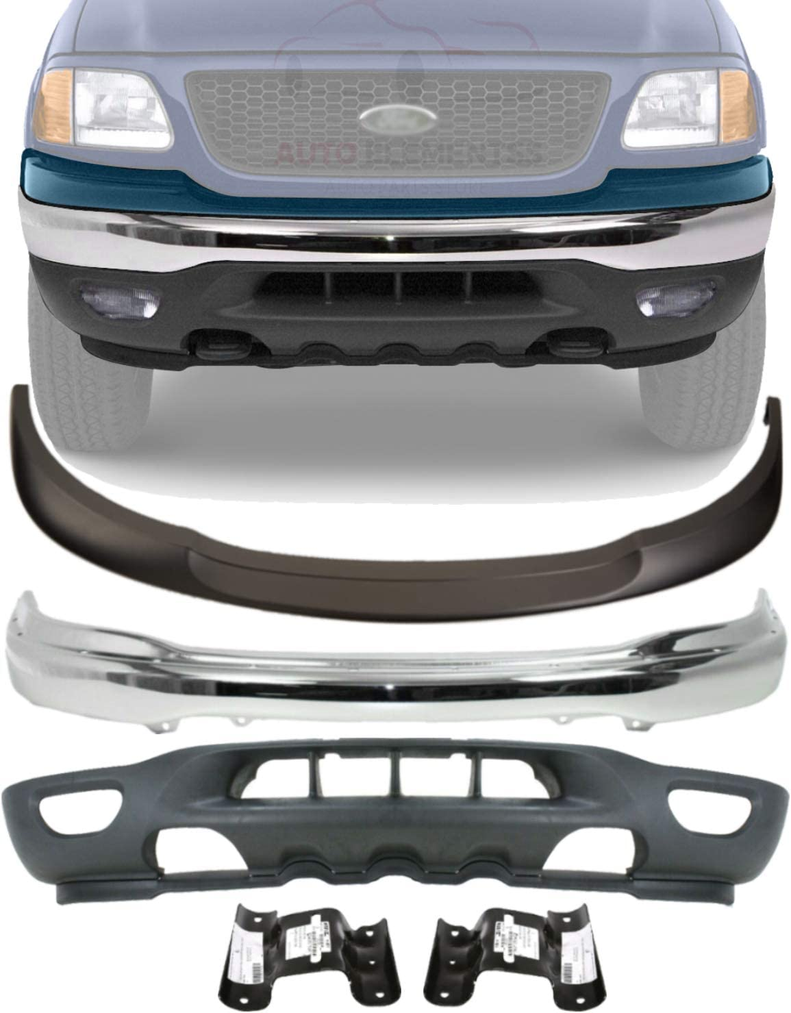 New Replacement for OE Valance fits 1999-03 Ford F-150 with Tow Hook /& Fog Light Holes Front Lower Panel