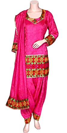 Amazon Com Designer Punjabi Patiala Salwar Suit Hand Embroidered