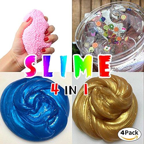 HSETIY Super Slime Kit - 4 Styles Slime(2.5 oz each,total 10oz) with Colorful Foam Balls, fresh fruit decoration,blue and Golden sand Glitter Shake Jars for DIY Slime
