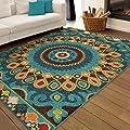 "Indoor Outdoor Geometric Floral Mandala Multi Area Rug (5'2"" x 7'6"")"