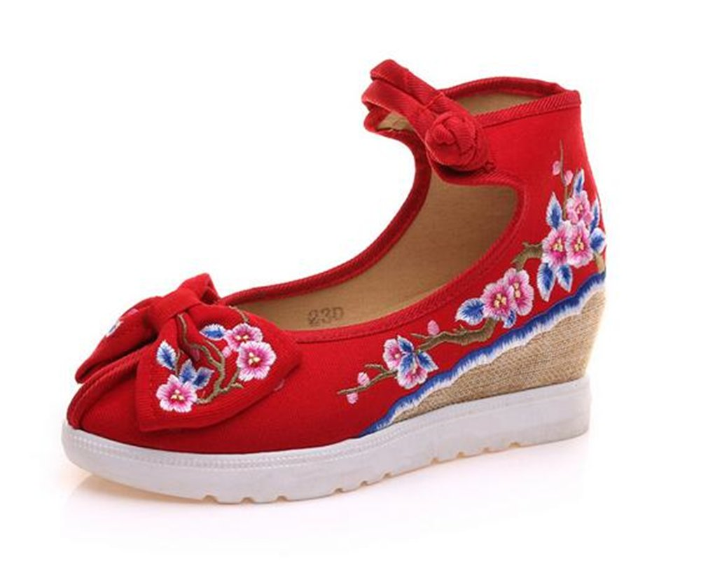 ZYZF Womens Embroidery Bows Design Wedge Heel Dress Sandal Shoes B06Y46W8VR 40 M EU|Red