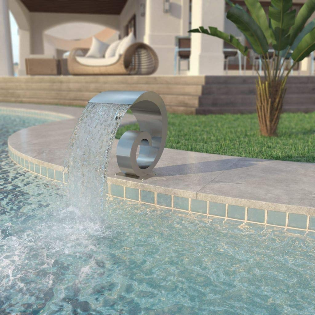Tidyard Outdoor Garden Pool Fountain, Waterfall Pond Fountain Stainless Steel 19.7'' x 11.8'' x 20.9'' Silver