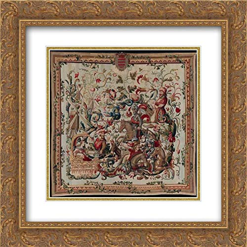 Francis Poyntz - 20x20 Gold Ornate Frame and Double Matted Museum Art Print - Don Quixote Tilting at Windmills